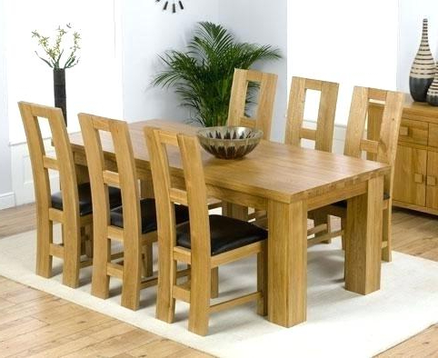 6 Chair Dining Set Glass Table Solid Oak And Chairs Winsome For 2018 Oak Dining Set 6 Chairs (View 4 of 20)