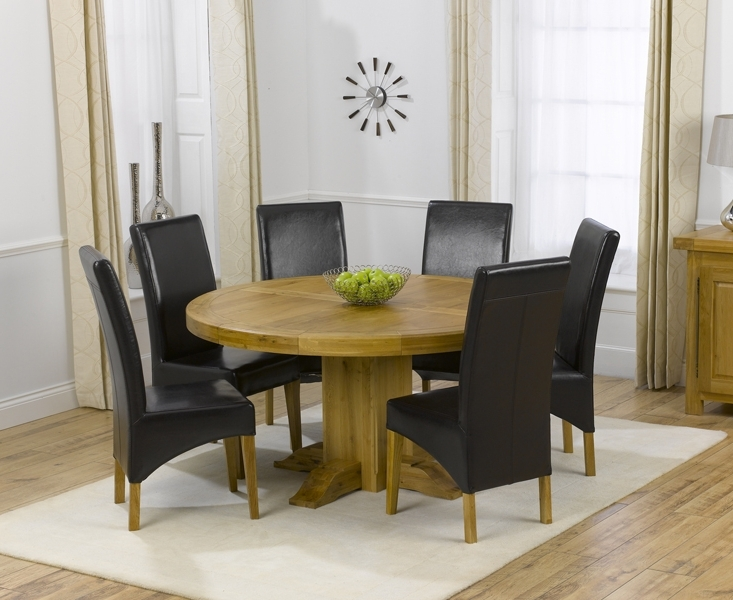 6 Chair Dining Table Sets Within 2017 Torino 150Cm Solid Oak Round Pedestal Dining Table With Cannes Chairs (View 18 of 20)