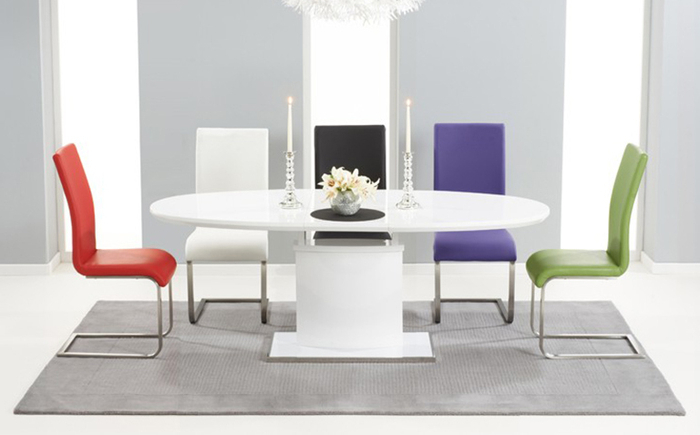 6. Oval And Round High Gloss Dining Table Sets Intended For Trendy High Gloss Dining Tables And Chairs (Gallery 4 of 20)