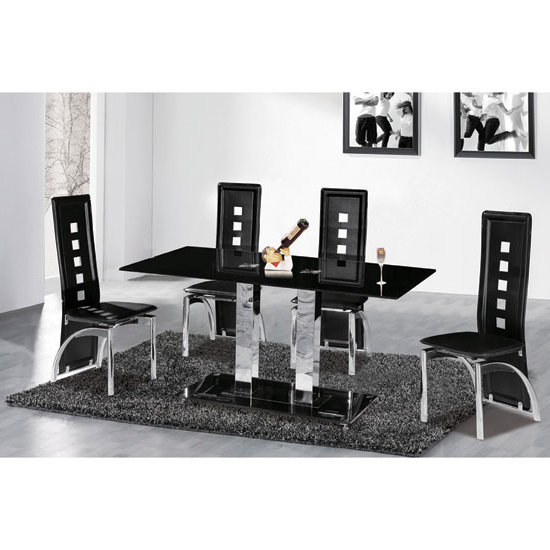 6 Reasons To Buy Dining Table And Chairs In Black Glass In Popular Glass Dining Tables 6 Chairs (View 6 of 20)