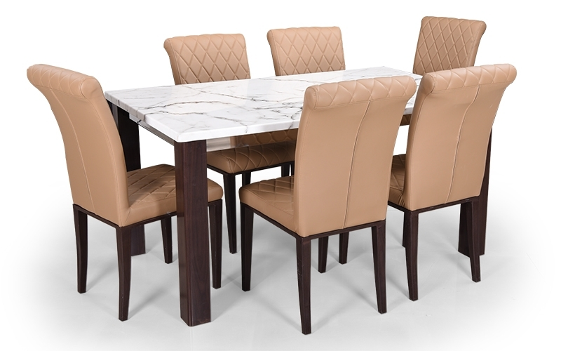 6 Seat Dining Table Sets For Trendy Buy Royaloak Pearl 6 Seater Dining Set With Cushioned Chairs And (Gallery 5 of 20)
