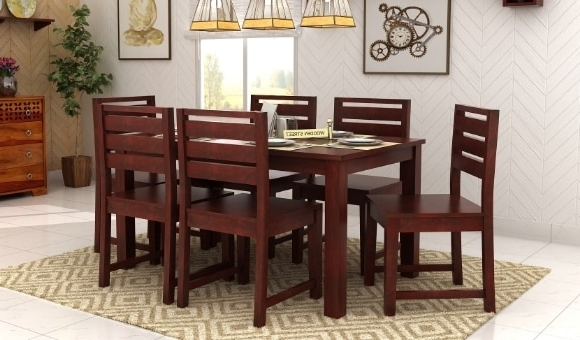 6 Seat Dining Tables And Chairs Inside Most Popular 6 Seater Dining Table: Buy Six Seater Dining Table Online India (View 20 of 20)