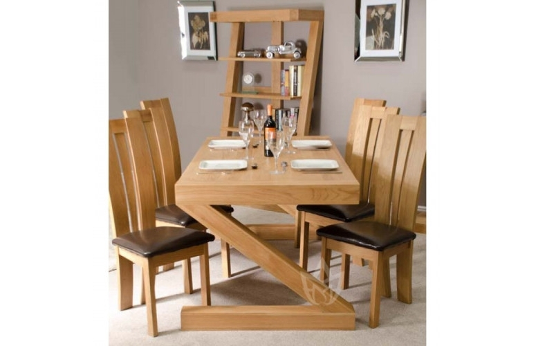 6 Seat Dining Tables And Chairs With Regard To Fashionable Z Solid Oak Designer Large 6 Seater Dining Table With Chairs (View 7 of 20)
