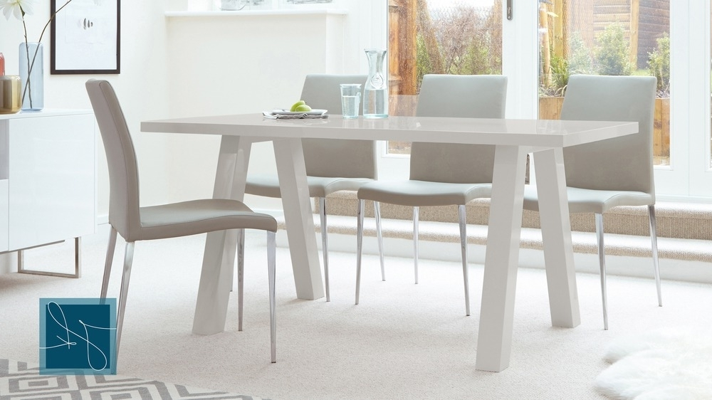 6 Seater Dining Tables Inside Well Known Contemporary 6 Seater Grey Gloss Dining Table (View 12 of 20)