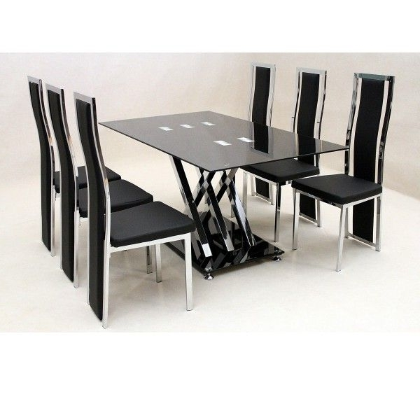 6 Seater Glass Dining Table Sets Inside Newest Glass Dining Sets For Those Who Want Their Places Look Modern (View 8 of 20)