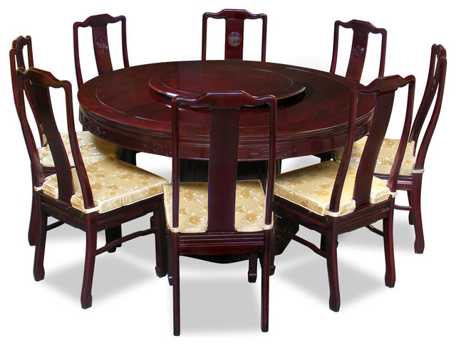 "60"" Rosewood Longevity Design Round Dining Table With 8 Chairs Pertaining To Well Known Dining Tables With 8 Chairs (Gallery 2 of 20)"