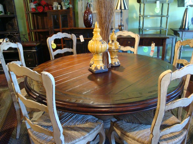 60Quot Round Hand Carved Pedestal Dining Table French Country Wicker Within Well Liked Pedestal Dining Tables And Chairs (View 3 of 20)