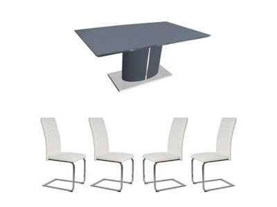 799.00 – Harveys Ramira Extending Dining Table & 4 White Alcora Within 2018 Alcora Dining Chairs (Gallery 9 of 20)
