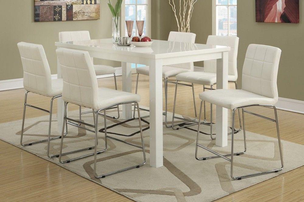 7Pc Modern High Gloss White Counter Height Dining Table Set For 2017 White Dining Tables Sets (View 2 of 20)