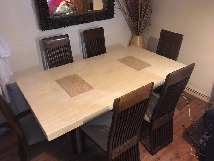 8. Grand Ivory Solid Marble Dining Table With Six Chairs From Scs On Regarding Fashionable Scs Dining Furniture (Gallery 20 of 20)