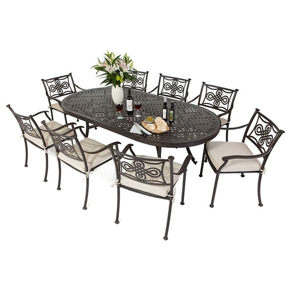 8 Seat Cast Aluminium Outdoor Dining Sets With Regard To Trendy 8 Seat Outdoor Dining Tables (Gallery 1 of 20)