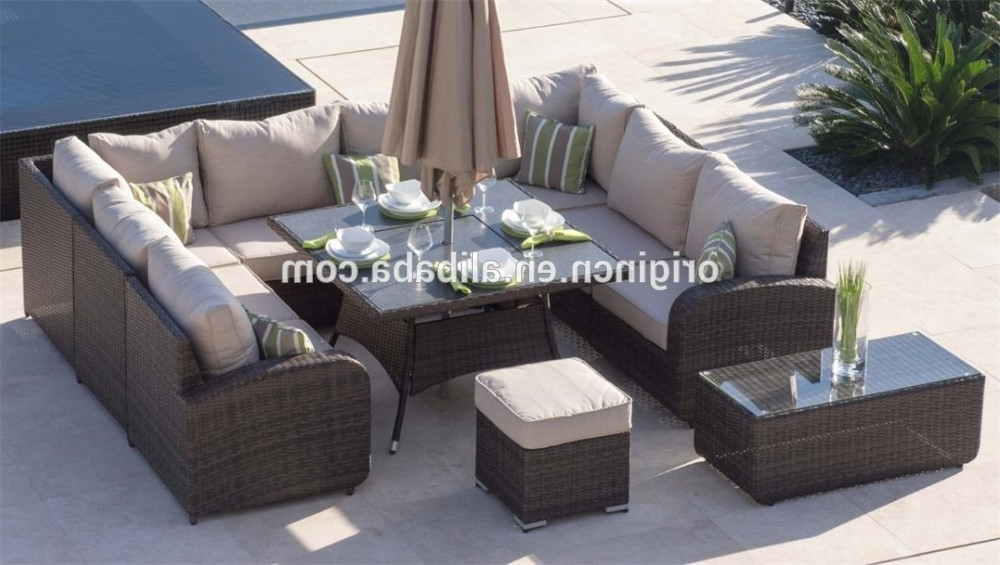 8 Seat Outdoor Dining Tables Pertaining To Popular 8 Seater U Shape Home Outdoor Dining And Chatting Sofa Set Wicker (Gallery 2 of 20)