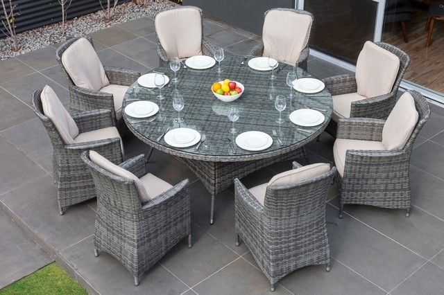 8 Seat Outdoor Dining Tables With Regard To Most Up To Date Moda Furnishings Outdoor Wicker Furniture Nassau 8 Seat Round Dining (View 12 of 20)