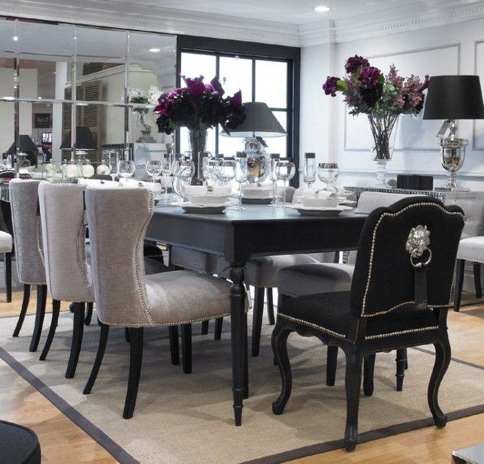 8 Seater Black Dining Tables Inside Well Known This Set Comes With An 8 Seater Table And 6 Of The Light Coloured (View 1 of 20)