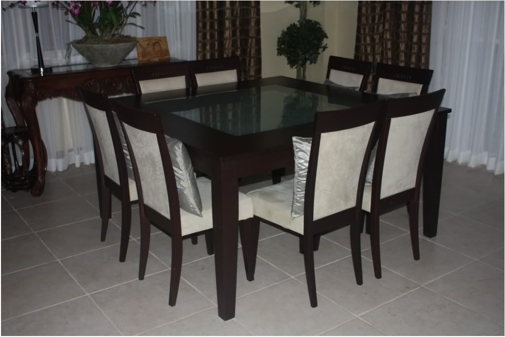 8 Seater Black Dining Tables With Regard To Popular Great 6 8 Seater Glass Dining Table Black Powder Coated Legs – (View 10 of 20)