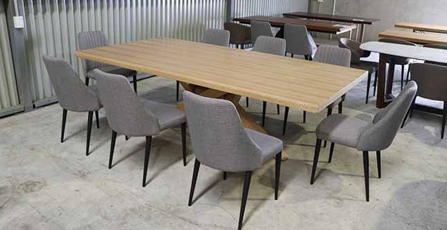 8 Seater Dining Table Finley Table + 8 Barham Chairs – Freeway Furniture Pertaining To Most Current Eight Seater Dining Tables And Chairs (View 4 of 20)