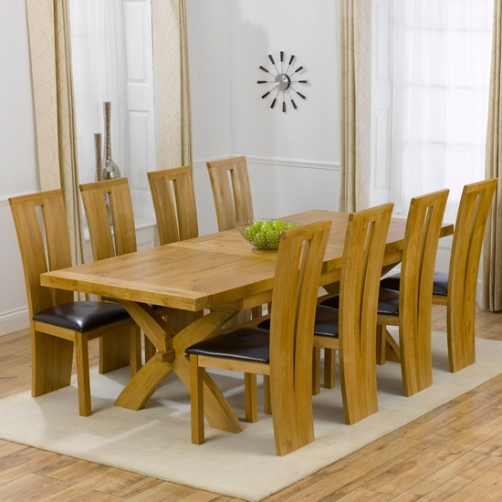 8 Seater Dining Tables And Chairs Within Popular Avignon Solid Oak Extending Dining Table And 8 Arizona Walnut Dining (View 11 of 20)