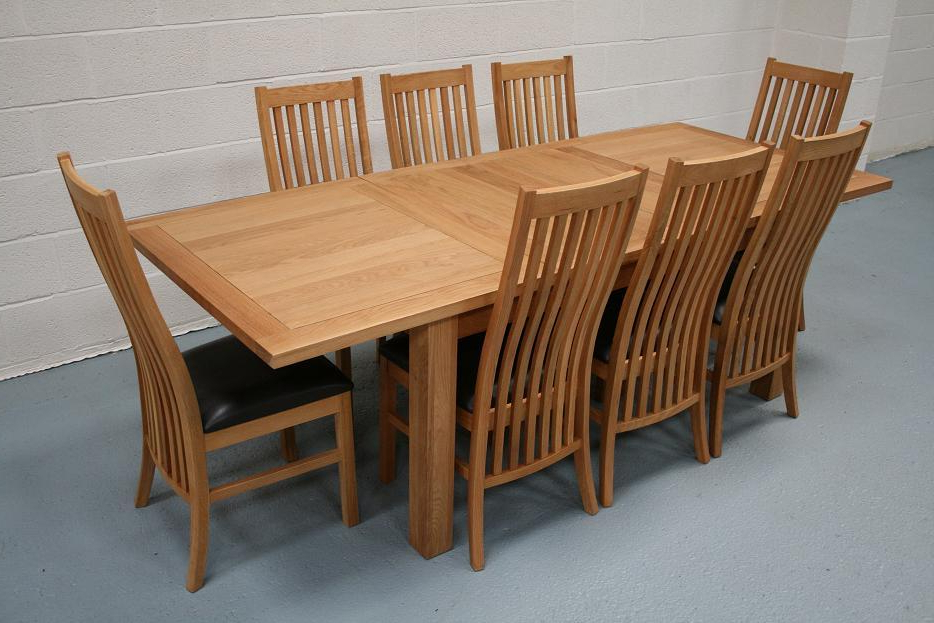 8 Seater Oak Dining Table Set In Recent Extendable Dining Tables Sets (View 13 of 20)