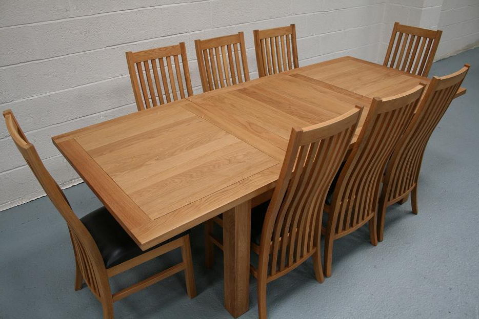 8 Seater Oak Dining Table Set Intended For Oak Extending Dining Tables And 8 Chairs (View 1 of 20)