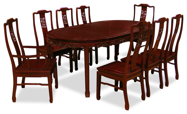 """80"""" Rosewood Dining Table Set With 8 Chairs, Dragon Design – Asian Inside 2017 Dining Tables And 8 Chairs Sets (View 2 of 20)"""