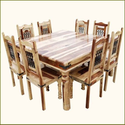 9 Pc Square Dining Table And 8 Chairs Set Rustic Solid Wood Within Newest Dining Tables 8 Chairs Set (View 11 of 20)
