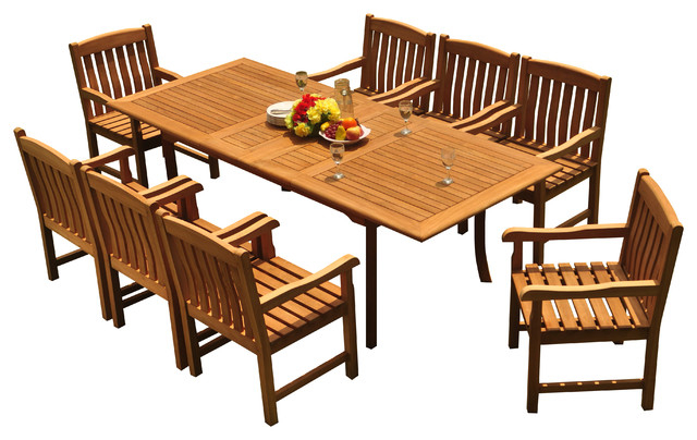 "9 Piece Outdoor Teak Dining Set, 94"" Extension Table, 8 Devon Arm Regarding Most Current Craftsman 9 Piece Extension Dining Sets (View 1 of 20)"