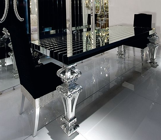 A Luxury Designer Glass Table With Architectural Top In Reeded Black With Regard To Favorite Mirror Glass Dining Tables (View 1 of 20)