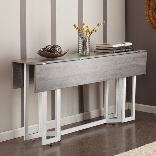 A Modern Drop Leaf Expandable Console Table That Converts Into A Pertaining To Most Recent Drop Leaf Extendable Dining Tables (Gallery 1 of 20)