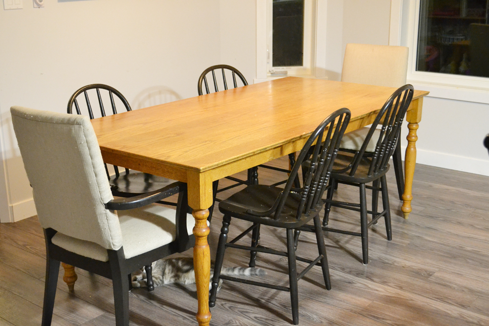 A Shabby Chic Farmhouse Table With Diy Chalk Paint Throughout Well Known Washed Old Oak & Waxed Black Legs Bar Tables (View 10 of 20)