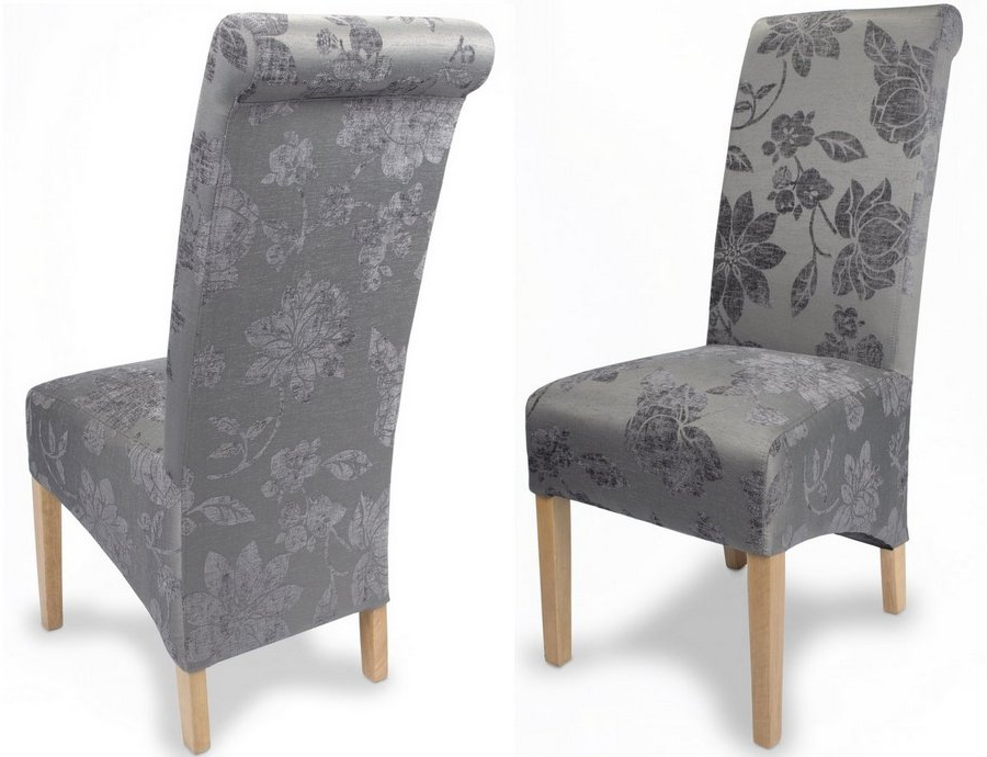 Abdabs Furniture – Fleur Antique Grey Fabric Dining Chairs – Pair Intended For Newest Fabric Dining Chairs (View 12 of 20)