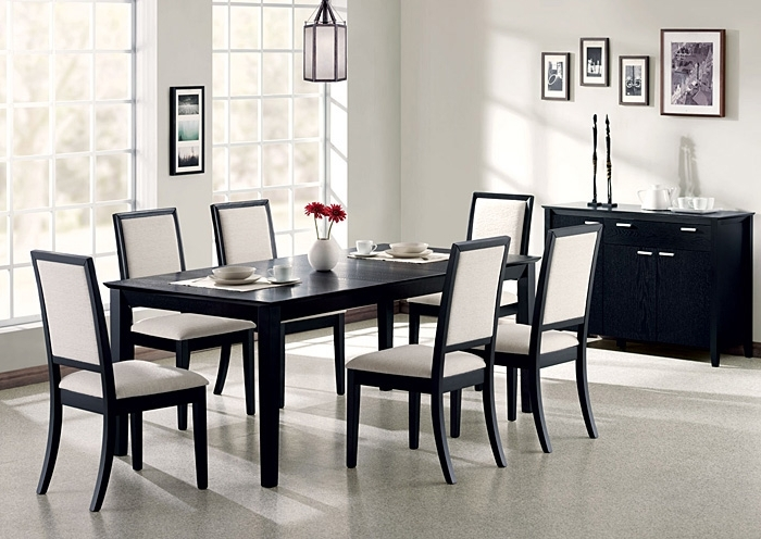 Above & Beyond Furniture Lexton Black Dining Table W/6 Side Chairs With 2017 Black Dining Tables (View 3 of 20)