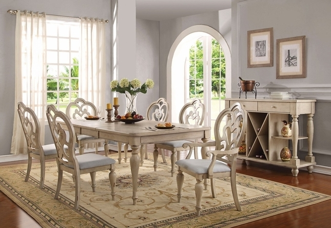 """Absolon French Country Dining Room Set 66"""" 86"""" Table Antique White For Popular Country Dining Tables (View 2 of 20)"""