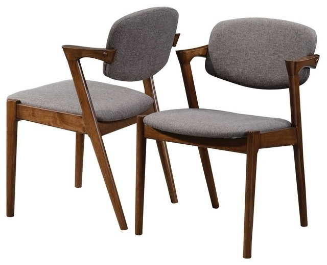 Accent Walnut Wood Dining Side Chairs Fabric Padded Back Support Regarding Most Up To Date Bowery Ii Side Chairs (View 15 of 20)