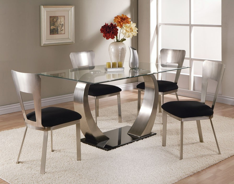 Acme Acme Camille Glass Top Dining Table With Metal Base 10090 Intended For Most Recent Dining Room Glass Tables Sets (View 2 of 20)