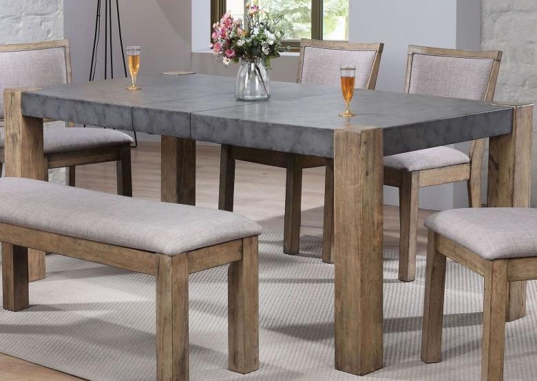 Acme Paulina Ii Dark Gray And Rustic Oak Dining Table – Paulina Ii For Most Recent Rustic Oak Dining Tables (View 2 of 20)