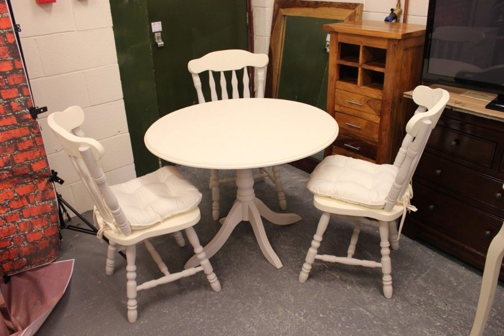 Adorable Small Cream & Grey French Shabby Chic Dining Table And 3 For Preferred Shabby Chic Cream Dining Tables And Chairs (Gallery 14 of 20)