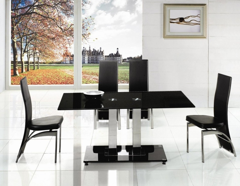 Alba Small Chrome Black Glass Dining Table (View 1 of 20)