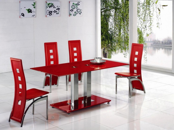 Alba Small Red Glass Dining Table With Alison Dining Chair Intended For Most Up To Date Red Dining Tables And Chairs (Gallery 1 of 20)
