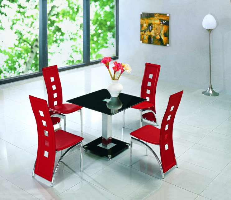 Alba Square Black Glass Dining Table With Alison Chairs (Gallery 11 of 20)