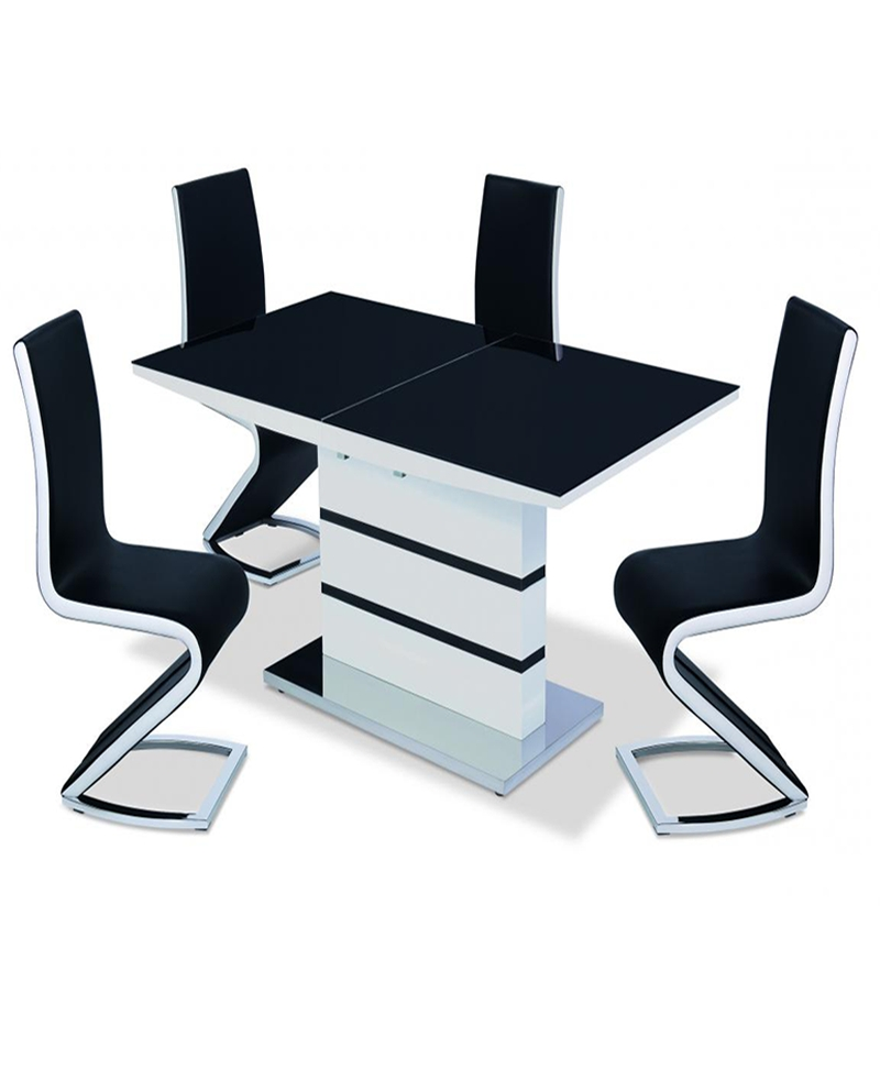Aldridge High Gloss Dining Table White With Black Glass Top 4 Chairs Pertaining To Fashionable Black Glass Dining Tables And 4 Chairs (View 3 of 20)
