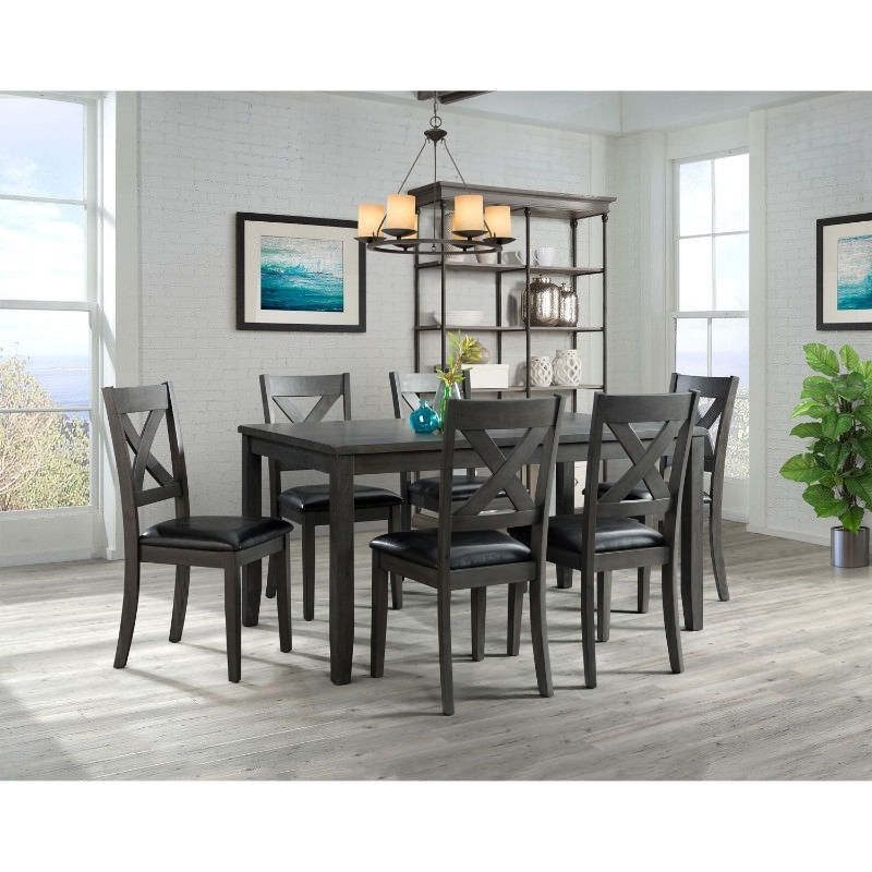 Alexa Black Side Chairs For Well Liked Alexa Transitional 7 Piece Dining Set – Grey – Kgn Best Deals (View 7 of 20)
