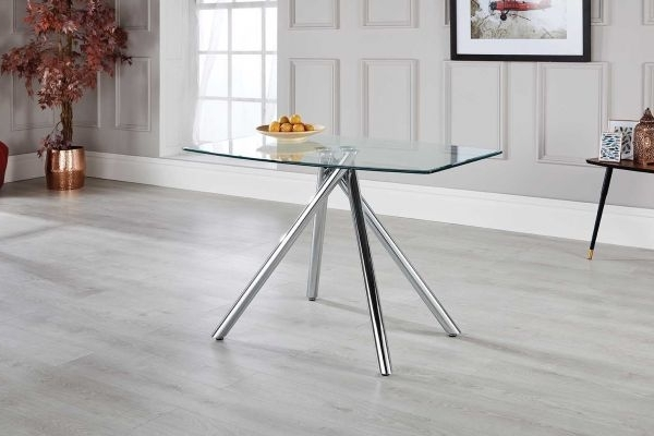 Alexa Chrome & Glass Dining Table – Free Delivery (View 3 of 20)