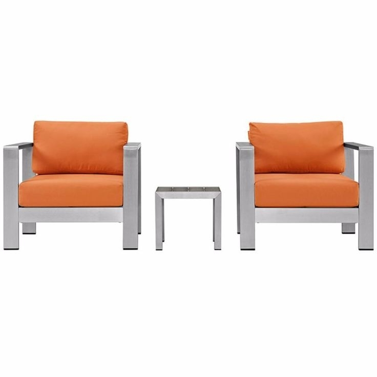 Alexa Firecracker Side Chairs Within Most Recently Released Shore 3 Piece Outdoor Patio Aluminum Sectional Sofa Set, Silver (View 7 of 20)