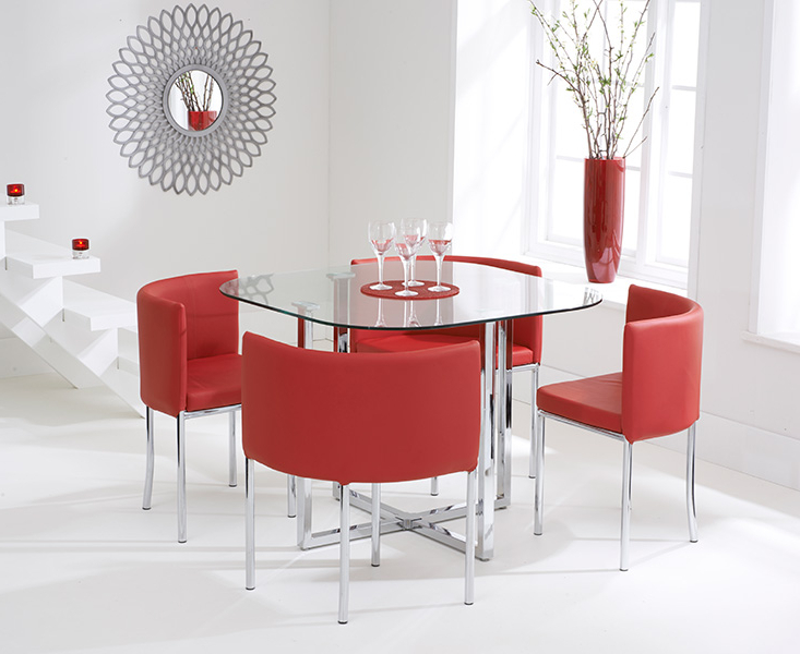 Algarve Glass Stowaway Dining Table With Red High Back Stools Regarding Widely Used Red Dining Table Sets (View 3 of 20)