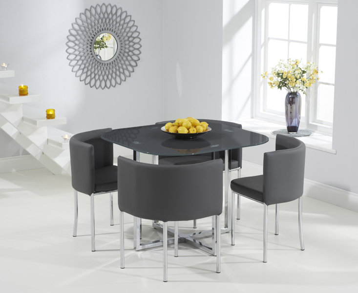 Algarve Grey Glass Stowaway Dining Table With Grey High Back Stools Throughout Newest Stowaway Dining Tables And Chairs (View 14 of 20)