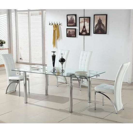 Alicia Extending Glass Dining Table With 6 Ravenna White With Regard To Most Popular Glass Dining Tables White Chairs (View 2 of 20)