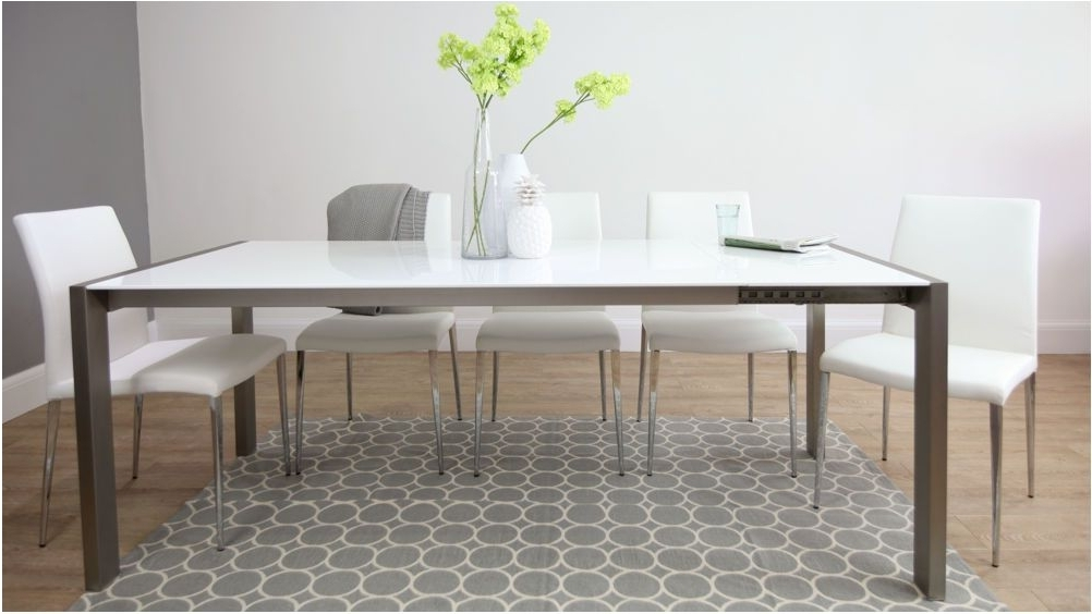 Amazing White High Gloss Extending Dining Table Brushed Metal Legs Regarding Well Liked Brushed Metal Dining Tables (View 1 of 20)