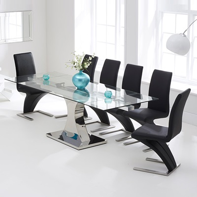 Ambrose Glass Extending Dining Table With 10 Harvey Black Airs Regarding Favorite Harvey Dining Tables (View 16 of 20)