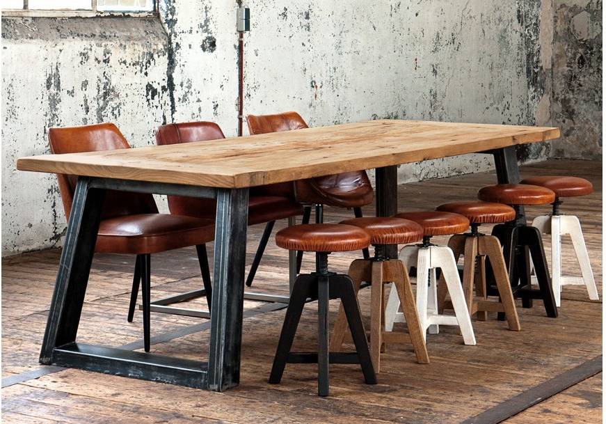 American Country Style Retro Industrial Design To Do The Old Wrought With Regard To Current Iron And Wood Dining Tables (View 3 of 20)