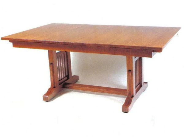 American Craftsman Trestle Table From Dutchcrafters Amish Furniture Regarding Most Recently Released Craftsman Rectangle Extension Dining Tables (View 2 of 20)